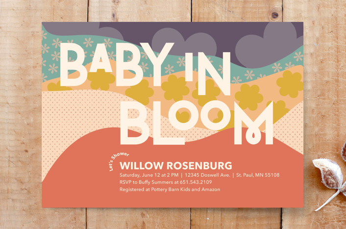 """Baby in Bloom"" - Custom Stationery in Coral by Calee A.H. Cecconi."