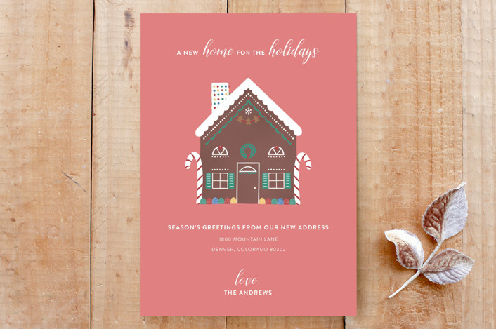 """New Home for the Holidays Announcement"" - Custom Stationery in Peppermint Pink by Erin Phipps."