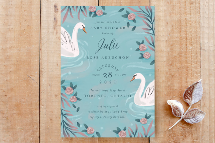 """Swans and Roses"" - Custom Stationery in Dusty Turquoise by Sam Dubeau."