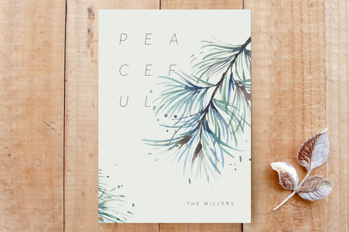 """""""Winter Pine Needles"""" - Custom Stationery in Winter Pine by Shannon Chen."""
