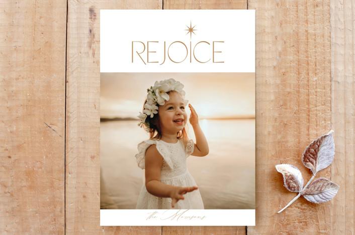 """""""Christmas Rejoice"""" - Custom Stationery in Golden by Brittany Braithwaite."""