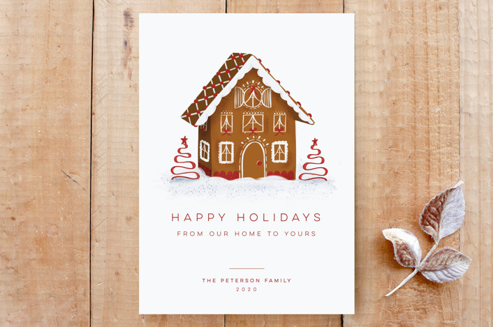 """""""Gingerbread Home"""" - Custom Stationery in Rudolph's Nose by Carolyn Kach."""
