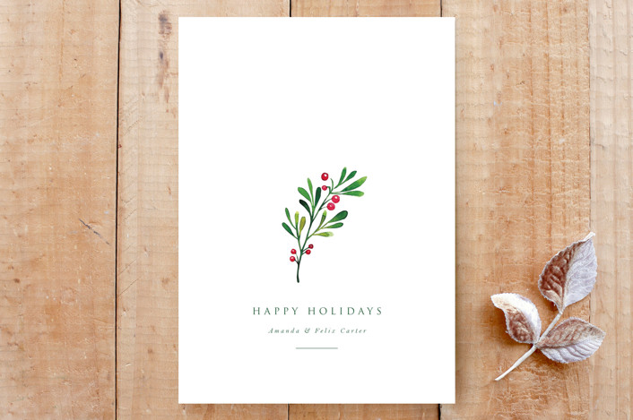 """Simple Holiday Holly"" - Custom Stationery in Snow by Nicole Walsh."