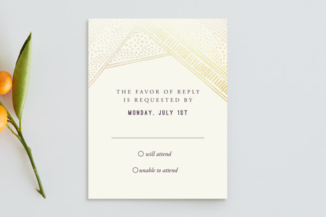 Shimmer and Sketch Foil-Pressed Mitzvah RSVP Cards