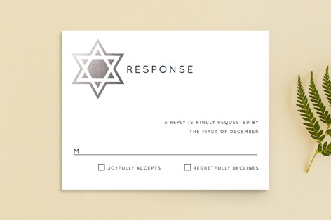 Shining Star Foil-Pressed Mitzvah RSVP Cards
