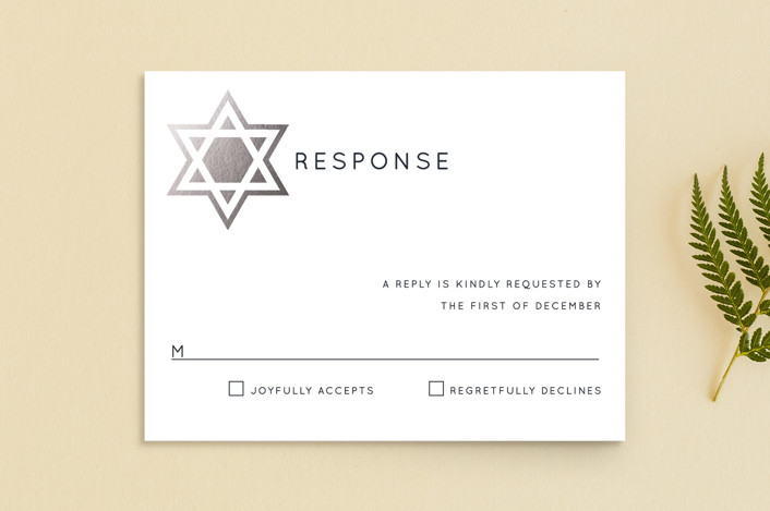 """Shining Star"" - Foil-pressed Mitzvah Rsvp Cards in Naval by Luckybug Designs."