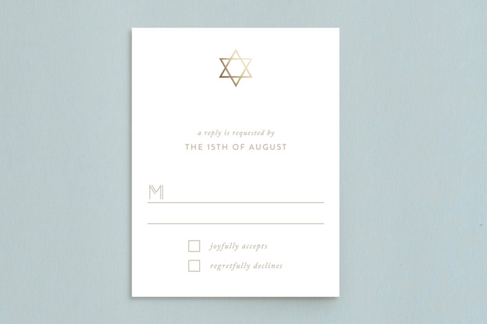"""""""Gold Star"""" - Foil-pressed Mitzvah Rsvp Cards in Sand by Roopali."""