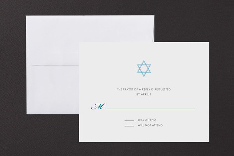 Simple Star Mitzvah RSVP Cards