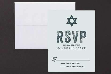 Hand Stamped Mitzvah RSVP Cards