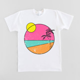 This is a white t shirts for man by Jessica Louie called beach vibes.