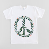 This is a white t shirts for man by frances called Let there be peace.