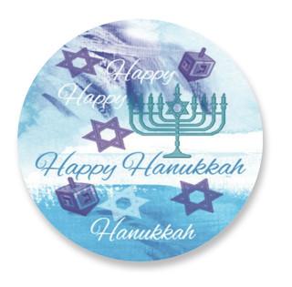 Happy Hanukkah Label Selflaunch Non-Custom Stickers