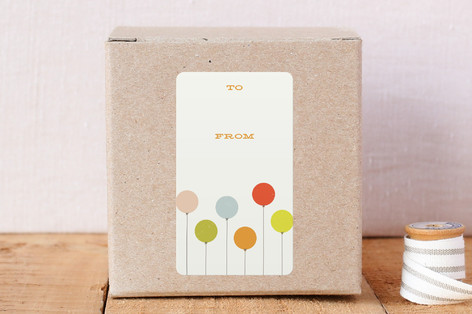 colorful balloons gift label stickers by amber bar minted