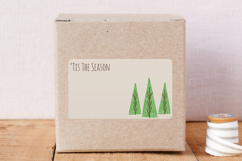 Block Print Pine Trees Sticker Stickers