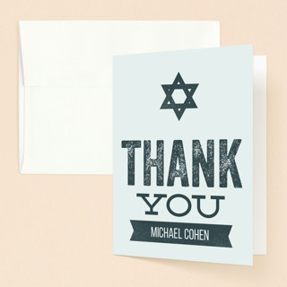 Hand Stamped Mitzvah Thank You Cards