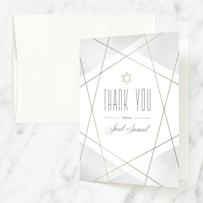 """Geo Mitzvah"" - Modern Foil-pressed Mitzvah Thank You Cards in Gravel by Monika Drachal."