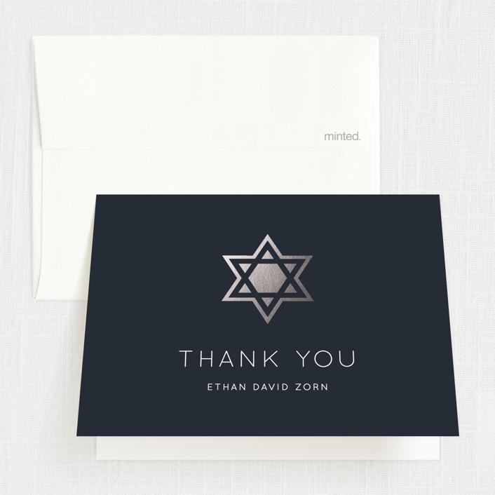 """Shining Star"" - Foil-pressed Mitzvah Thank You Cards in Naval by Luckybug Designs."