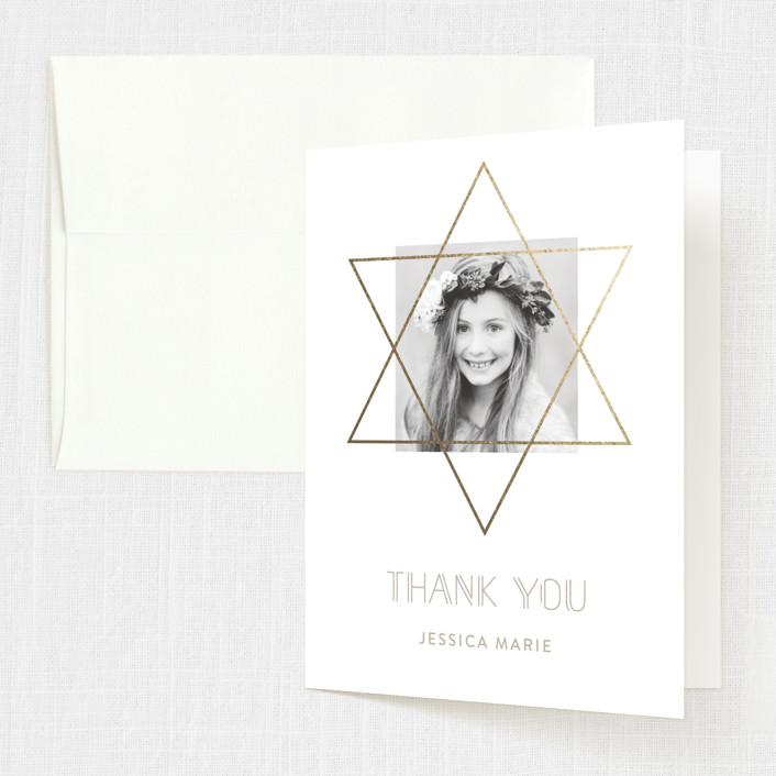 """Gold Star"" - Foil-pressed Mitzvah Thank You Cards in Sand by Roopali."