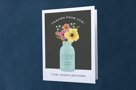 mason jar bouquet Moving Announcements Thank You Cards