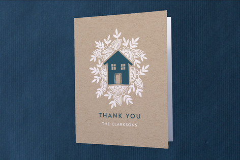 Floral House Moving Announcements Thank You Cards