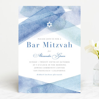 watercolor stripes Mitzvah Invitations