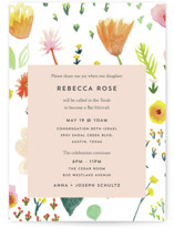 This is a colorful bar mitzvah bat mitzvah invitation by Erika Firm called Spring Gardens with standard printing on signature in standard.