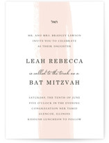 This is a pink bar mitzvah bat mitzvah invitation by Angela Marzuki called Single Swath with standard printing on signature in standard.