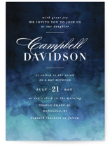 This is a blue bar mitzvah bat mitzvah invitation by Kelly Schmidt called Indigo Sea with standard printing on signature in standard.