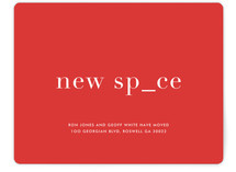 This is a red moving announcement by kelli hall called New Place, New Space printing on signature in standard.