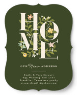 This is a green moving announcement by Jennifer Wick called Enchanted Home printing on signature.