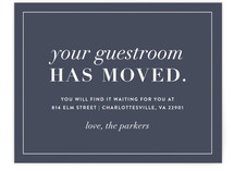 This is a blue moving announcement by Amy Kross called New Guestroom printing on signature.