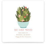 This is a blue moving announcement by Nazia Hyder called Succulent teacup printing on signature.