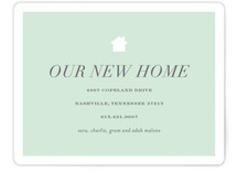 This is a green moving announcement by Sara Hicks Malone called house and home printing on signature in standard.