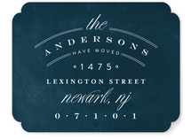 This is a blue moving announcement by Phrosne Ras called Address Logo printing on signature.
