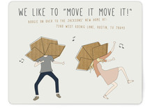 This is a pink moving announcement by Johanna McShan called Move It Move It printing on signature.