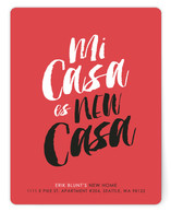 This is a red moving announcement by Itsy Belle Studio called New Casa printing on signature.