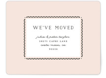 This is a pink moving announcement by Monica Schafer called Modern Border printing on signature in standard.