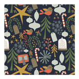 retro christmas - navy Wrapping Paper