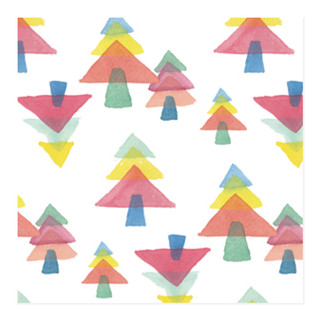 Watercolor Christmas Trees Self-Launch Wrapping Paper