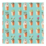 Hedgehog and cactus wrapping paper