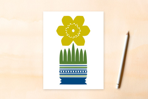 Yellow Nordic Flower A2 card Women's Flat Stationery