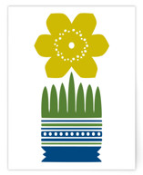 Yellow Nordic Flower A2 card
