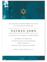 This is a gold bar mitzvah bat mitzvah invitation by Lea Velasquez called Modern Hue with foil-pressed printing on signature in standard.