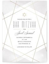 This is a gold bar mitzvah bat mitzvah invitation by Monika Drachal called Geo Mitzvah with foil-pressed printing on signature in standard.