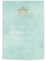 This is a green bar mitzvah bat mitzvah invitation by Julia Hall called Graceful with foil-pressed printing on signature in standard.