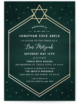 This is a gold bar mitzvah bat mitzvah invitation by Summer Winkelman called Mountain Sky with foil-pressed printing on signature in standard.