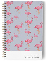 This is a blue journal by Makewells called Flamingos Galore with standard printing on premium cover stock in notebook.