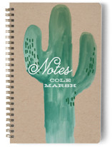 This is a beige journal by Baumbirdy called Wild Cactus with standard printing on premium cover stock in notebook.