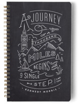 This is a black journal by Jennifer Wick called The Journey with standard printing on premium cover stock in notebook.