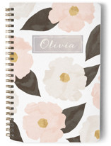 This is a beige journal by Hooray Creative called Fresh Florals with standard printing on premium cover stock in notebook.